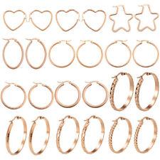 316L Stainless Steel Women's Rose Gold Plated Ear Fashion Hoop Earrings Jewelry