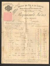 """PARIS (II°) MERCERIE BONNETERIE """"DEPOT FIL A LA LOUVE / REGNIAULT Freres"""" 1918"""