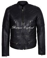 Men's Black Biker Jacket REAL Italian LEATHER Waxed Classic Vintage Style 1065