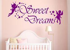 Wandtattoo Sweet Dreams mit Sternen und Elfen Wandaufkleber Deko Folie SZ039