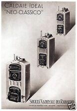 """PUBBLICITA'1942 CALDAIA STUFA IDEAL NEO CLASSICO"""" CARBONE SOC.ITALIANA RADIATORI"""