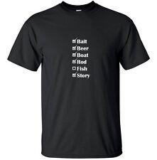 Fishing Checklist Funny T Shirt Adult Black White Custom