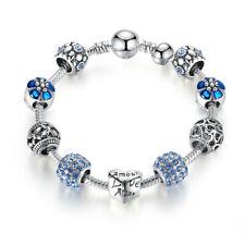 2017New BLUE LOVE DIY Charms Beads Silver Bracelets Women Fashion Jewelry