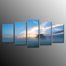 5 Panels Landscape Canvas Art Print Blue sky Sunset tree Home Decor Painting
