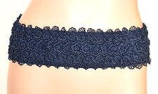 CINTURA BLU donna stringivita PIZZO RICAMATA pelle bustino cerimonia belt E15