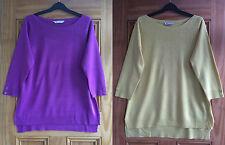 BHS Soft Feel New Purple Lemon Yellow Thin Knit Acrylic Jumper Size 8 - 16 Bnwot