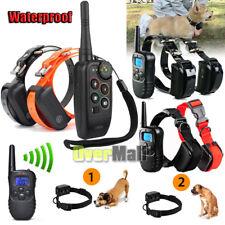 Waterproof Rechargeable LCD 1100 Yard Shock Vibra Remote 2 Dog Training Collar