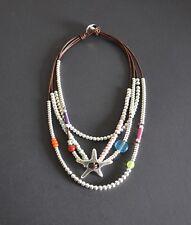 Collar de cordon cuero-colgante estrella-plateado-collar uno no de 50 estilo