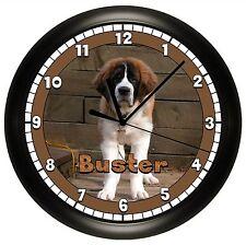Saint Bernard Wall Clock Personalized St. Gift Dog Pet Vet Name Brown Canine