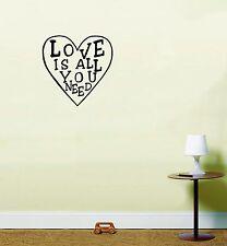 Amor is todos que necesita Adhesivo Pared Letra de Beatles inspirador frase