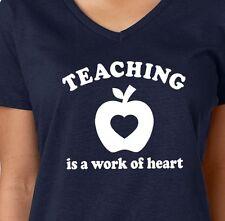 TEACHING is a work of HEART school college class teacher Women's V-neck T-Shirt