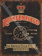 Vintage Garage Royal Enfield, 126, Motorcycles Motorbike, Small Metal/Tin Sign