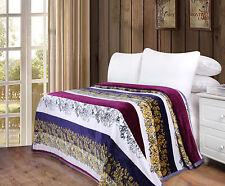 DaDa Bedding Boho Floral Striped Burgundy Warm Soft Flannel Fleece Throw Blanket