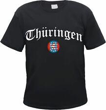 THÜRINGEN T-Shirt - Altdeutsch mit Wappen - Schwarz - jena weimar erfurt gera