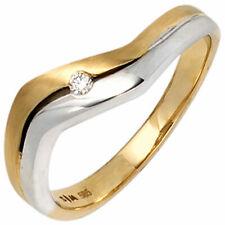 Damen Ring 585 Gold Gelbgold Weißgold bicolor  1 Diamant Brillant Gr.50-60