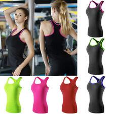 Women Basic Tight Sports Vest Tank Tops Yoga Gym Running Quick Dry Sportswear
