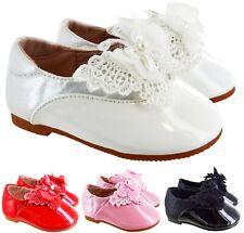 SPLENDIDA BAMBINA Bianco Grande Fiocco Diamante fibbia brevetto scarpe per Carrozzina//materiale morbido