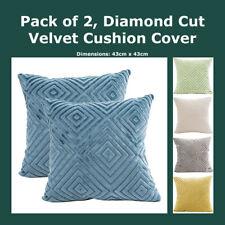 Pack of 2, Cut Velvet Diamond Pattern Cushion Cover Soft Geometric Pillow Case