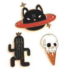 CUTE WEIRD LAPEL PIN Cactus Guy Skull IceCream Cone Space Cat Kitty Brooch 2I