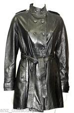 Amy Black Ladies Woman's Fashion Designer Party Knee Length Leather Jacket Coat