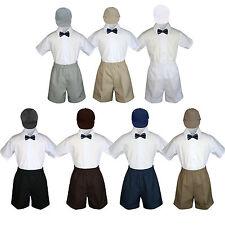 4pc Boy Toddler Formal Navy Bow tie Khaki White Black Shorts with Hat sz S-4T