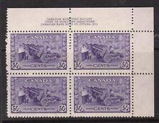 Canada #261 VF/NH Plate #1 UR Block