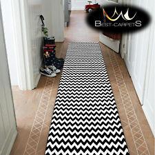 moderne épais coureur de Hall brouillon zig zag noir largeur 80-120cm extra long