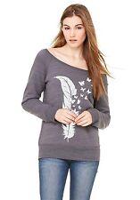 Sweatshirt Pullover Women's Shirt Feather Butterfly Long Sleeves Jumper
