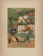 ANTIQUE PUMPKIN COTTAGE POTTED PLANTS BOYS TUG OF WAR PLAYING COLOR ART PRINT