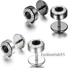 Stainless Steel Unisex Round Dumbbell Rhinestone Screw Back Ear Studs Earrings