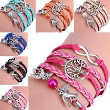 Bracelet multicouche tressé main tissé simulé perles argent antique Femme