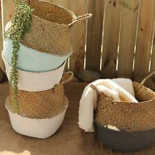 Seagrass Wicker Basket Flower Pot Folding Dirty Basket Storage Home Decor US