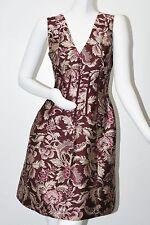 $2990 New Oscar de la Renta FLORAL DAMASK Silk Satin JACQUARD DRESS Burgundy 8