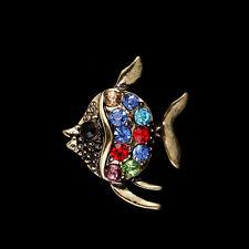 fish Rhinestone Brooch bronze Brooches Crystal Wedding Gifts Jewelry making