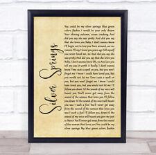 Silver Springs Rustic Script Song Lyric Quote Print