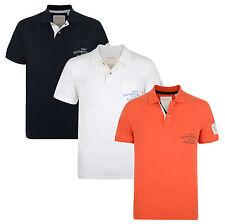 ESPRIT New Men's Cotton Pique Polo Shirt White Navy Orange Casual Jersey Top