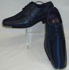Mens Dark Navy Blue Satin Stripe Silvertip Formal Dress Shoes Viotti 163ST
