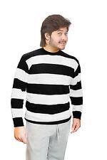 Men's Black & White Stripe Convict Knitted Jumper Halloween Black/ White Jumper