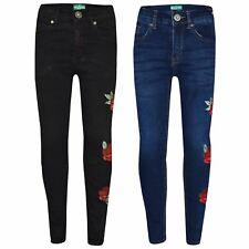 Jeans Elasticizzato Ragazze Bambini Rosa Ricamato Denim Pants Pantaloni Jeggings 5-13 ANNO