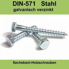 M8 DIN 571 Holzschrauben gal. verzinkte Sechskant Schlüsselschrauben Holzbau M8x