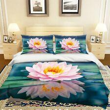 3D Pink Lotus Duvet/Donna/Quilt Cover Set Bedding Single/Queen/King 87