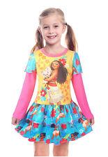 Kids Girl Princess Moana Spring Fall False Twinset Long Sleeve Skirt Dress Party
