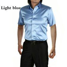 Men Faux Silk Satin Dress Shirts Short Sleeve Button Business Slim Casual Blouse