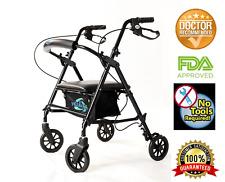 "Rolling Folding Walker Rollator With Seat Adjustable by legs 6"" Wheels Adult"