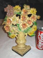 Antique Hubley # 489 Gladiolas Garden Flower Plant Cast Iron Doorstop Statue Usa