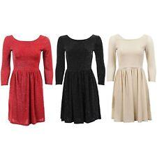 Women's 3/4 Sleeve Lurex Shiny Low Back Pleated Skater Short Ladies Dress 8-14