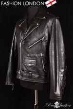 BRANDO FRINGED Black Men's Motorcycle Motorbike Cruiser Cowhide Leather Jacket