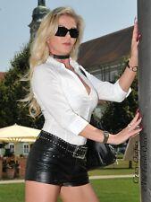 Lederhotpants Leder Hotpants Schwarz Knalleng Taschen Größe 32 - 58 XS - XXXL