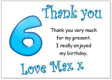 TC 10 Personalizado Sobres y tarjetas de agradecimiento, gracias Cumpleaños edad 6 Fiesta Chicos