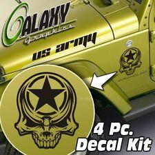 Jeep Wrangler Side Hood Decal Kit - Army Star Skull Matte Black Sticker TJ LJ JK